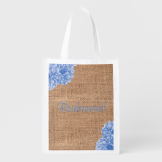 Rustic Burlap Dahlia Wedding Party Bags