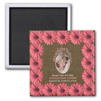 Rustic Burlap Daisy Baby Shower | Save the Date Magnet