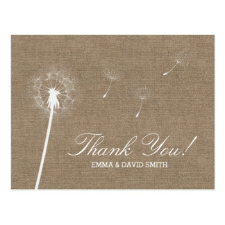 Rustic Burlap Dandelion Blowing Thank You Postcard