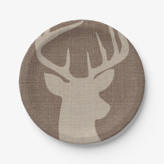 Rustic Burlap Deer Buck | Paper Plate