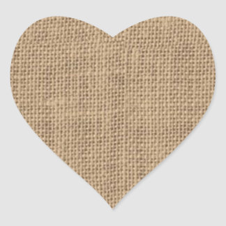Rustic Burlap Design Heart Sticker