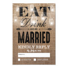 Rustic Burlap Eat Drink and be Married RSVP Card