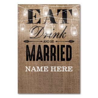 Rustic Burlap Eat Drink and be Married Table Name Card