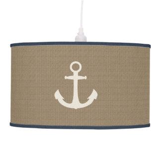 Rustic Burlap Effect Nautical Ship Anchor Pendant Lamp