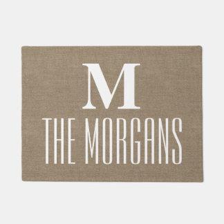 Rustic Burlap Elegant Chic Monogrammed Family Doormat