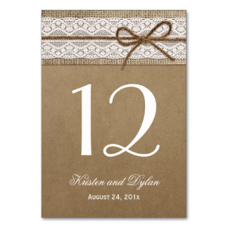 Rustic Burlap Elegant Lace Wedding Table Number Table Cards