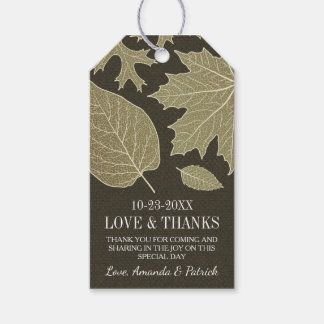 Rustic Burlap Fall Leaves Wedding Thank You Tags