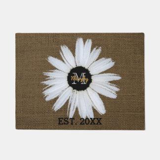 Rustic Burlap Family Name Year   Monogrammed Daisy Doormat