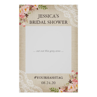 Rustic Burlap Floral Lace Bridal Shower Photo Prop Poster