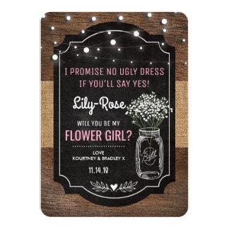 "Rustic Burlap Flower Girl Wedding | Mason Jar 4.5"" X 6.25"" Invitation Card"