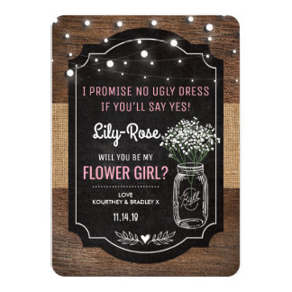 Rustic Burlap Flower Girl Wedding | Mason Jar Card