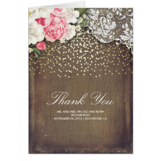 Rustic Burlap Gold Confetti Lace and Flowers Card