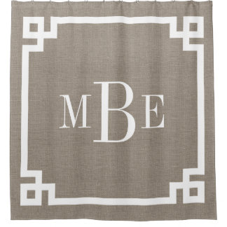 Rustic Burlap Greek Key Border Monogram
