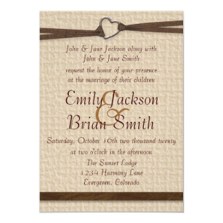 Rustic burlap heart clasp ribbon wedding invites