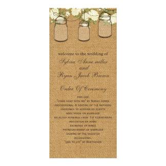 rustic burlap ivory roses mason jars programs