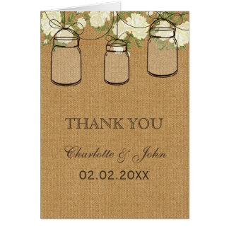 rustic burlap ivory roses mason jars  Thank You Card