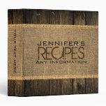Rustic Burlap Kitchen Cooking Vintage Wood Vinyl Binders