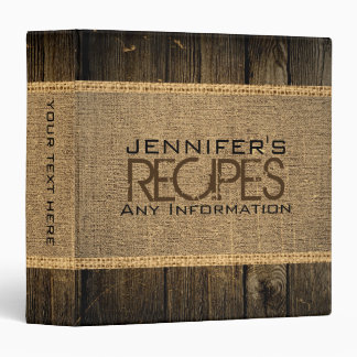 Rustic Burlap Kitchen Cooking Vintage Wood Vinyl Binders