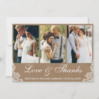 Rustic Burlap Lace 3 Photo Love and Thanks Thank You Card