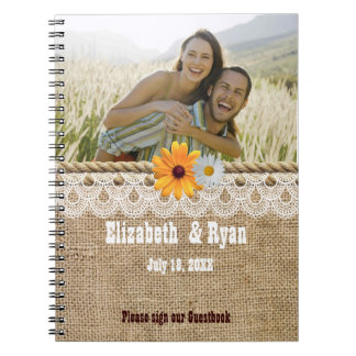 Rustic Burlap, Lace and Rope,Wedding Guest Sign In Spiral Notebook