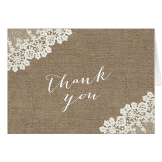 Rustic Burlap & Lace Baby Shower Thank You Card