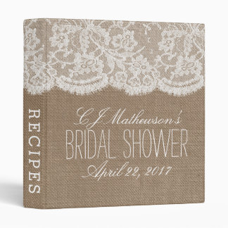 Rustic Burlap & Lace Bridal Shower Recipe 3 Ring Binder