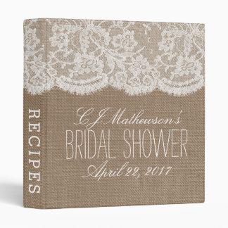 Rustic Burlap & Lace Bridal Shower Recipe Binder