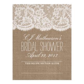 Rustic Burlap & Lace Bridal Shower Recipe Dividers Letterhead
