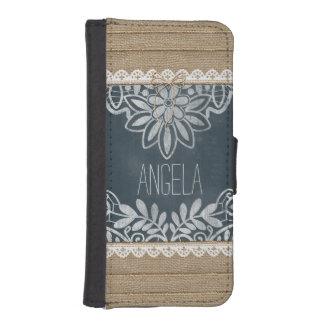Rustic Burlap Lace Chalkboard Personalized iPhone SE/5/5s Wallet Case