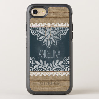 Rustic Burlap Lace Chalkboard Personalized OtterBox Symmetry iPhone 8/7 Case
