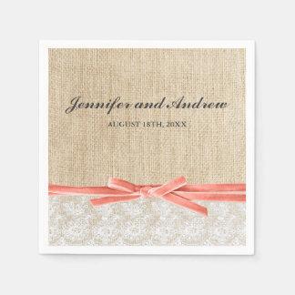 Rustic Burlap Lace Coral Ribbon Wedding Paper Napkins