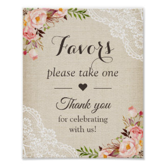 Rustic Burlap Lace Floral Wedding Favors Sign