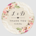Rustic Burlap Lace Floral Wedding Favour Classic Round Sticker