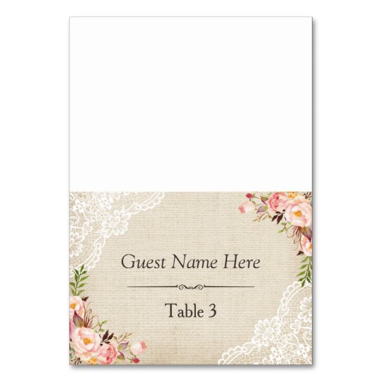Rustic Burlap Lace Floral Wedding Place Table Cards