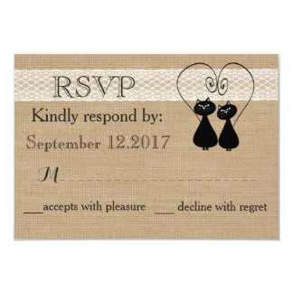 Rustic burlap lace funny cats in love wedding RSVP Card