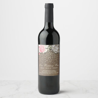 Rustic Burlap Lace Gold Confetti and Flowers Wine Label