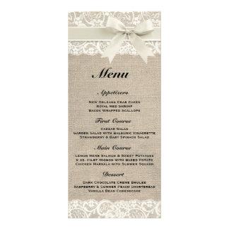 Rustic Burlap & Lace Ivory Wedding Menu