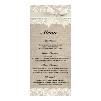 Rustic Burlap & Lace Ivory Wedding Menu Customized Rack Card