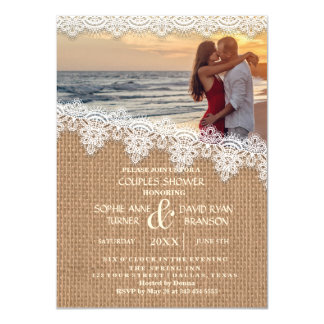 Rustic Burlap Lace Photo Couples Shower Invite