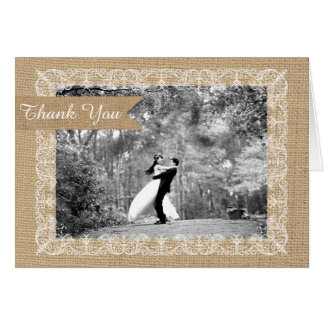 Rustic Burlap Lace Photo Wedding Thank You Card