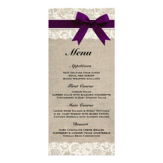 Rustic Burlap & Lace Plum Wedding Menu Customized Rack Card
