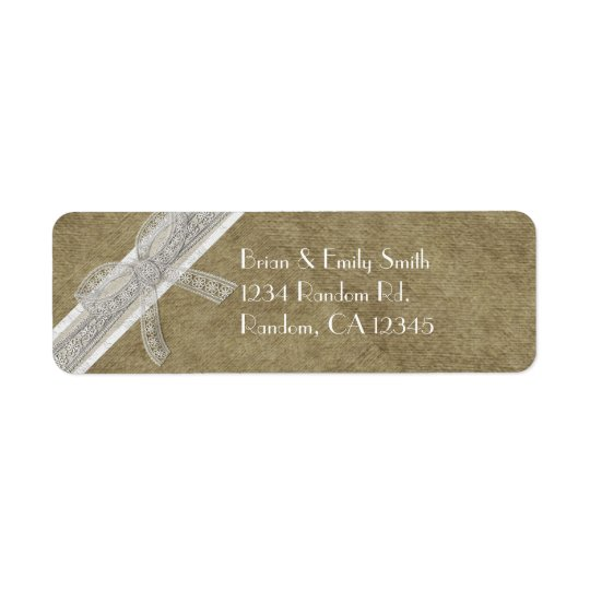 Rustic burlap lace ribbon return address labels