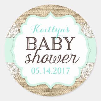 Rustic Burlap Lace Seafoam Baby Shower Classic Round Sticker
