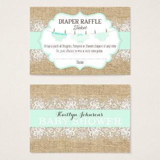 Rustic Burlap Lace Seafoam Diaper Raffle Ticket