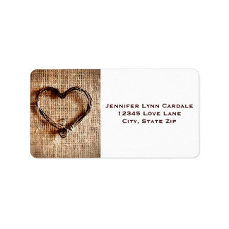 Rustic Burlap Lace Twine Heart Address Labels
