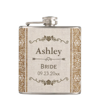Rustic Burlap Lace Wedding Bride Flasks