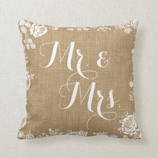 Rustic Burlap Lace Wedding Mr Mrs Throw Pillow