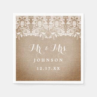 Rustic Burlap Lace Wedding Paper Napkins