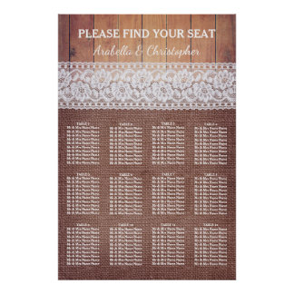 Rustic Burlap Lace & Wood | 12 Table Seating Chart Poster