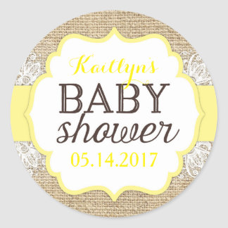 Rustic Burlap Lace Yellow Baby Shower Round Sticker
